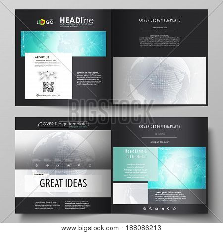 The black colored vector illustration of the editable layout of two covers templates for square design brochure, flyer, booklet. Chemistry pattern. Molecule structure. Medical, science background