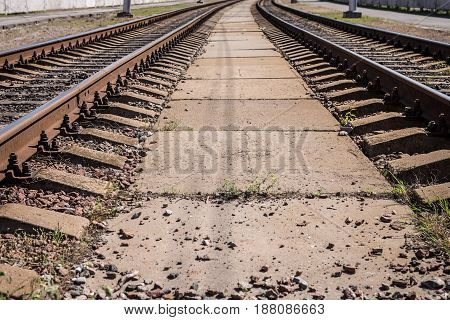 Background, Two Vintage Railway Lines, Stretching Into The Distance, On The Whole Frame. Horizontal