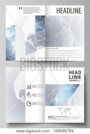 The vector illustration of the editable layout of two A4 format modern cover mockups design templates for brochure, flyer, booklet. Technology concept. Molecule structure, connecting background