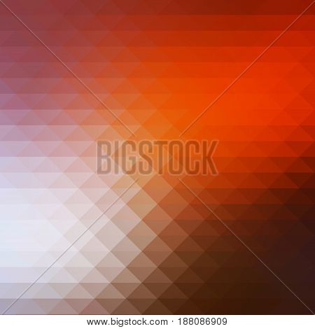 Brown orange white abstract geometric background with rows of triangles square
