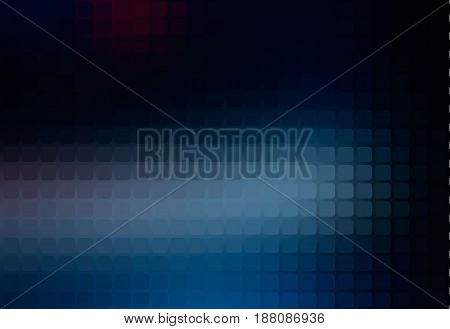 Deep and pale blue vector abstract rounded corners square tiles mosaic over blurred background