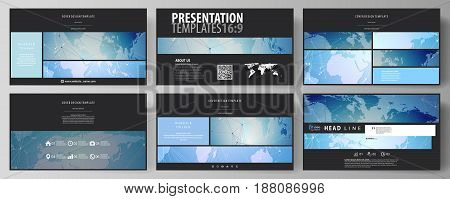 The black colored minimalistic vector illustration of the editable layout of high definition presentation slides design templates. World map on blue, geometric technology design, polygonal texture