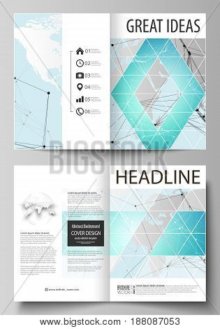 The vector illustration of the editable layout of two A4 format modern cover mockups design templates for brochure, magazine, flyer. Futuristic high tech background, dig data technology concept