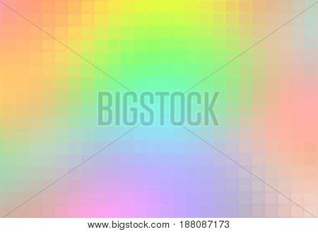 Light rainbow vector abstract rounded corners square tiles mosaic over blurred background