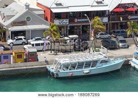 Nassau Bahamas May 16 2017: Tourist district in the city of Nassau Nassau Bahamas May 16 2017