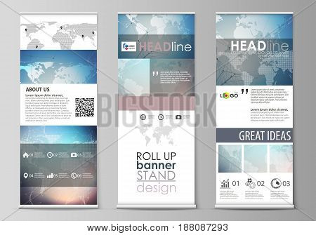 The minimalistic vector illustration of the editable layout of roll up banner stands, vertical flyers, flags design business templates. Polygonal geometric linear texture. Global network, dig data concept.