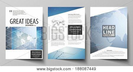 The vector illustration of the editable layout of three A4 format modern covers design templates for brochure, magazine, flyer, booklet. Scientific medical DNA research. Science or medical concept