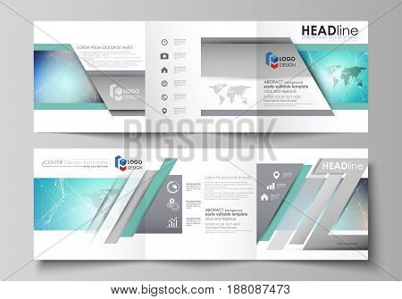 The minimalistic vector illustration of the editable layout. Two modern creative covers design templates for square brochure or flyer. Molecule structure, connecting lines and dots. Technology concept.