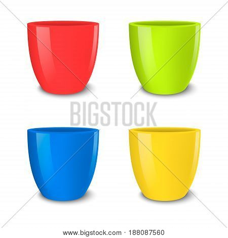 Realistic vector empty flower pot set, bright colors - red, green, blue and yellow . Closeup isolated on white background. Design template for branding, mockup. EPS10 illustration.