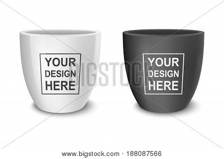 Realistic vector black and white empty flower pot set. Closeup isolated on white background. Design template for branding, mockup. EPS10 illustration.