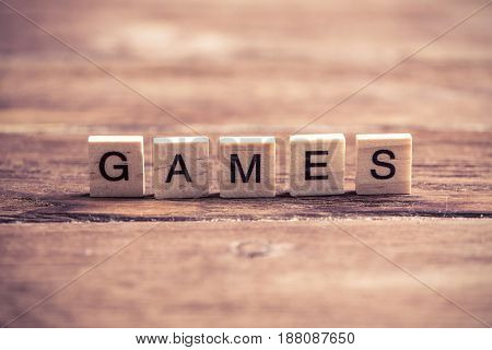 Alphabet wooden letters on wood collected to word games
