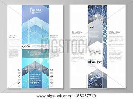 The abstract minimalistic vector illustration of the editable layout of two modern blog graphic pages mockup design templates. Abstract global design. Chemistry pattern, molecule structure