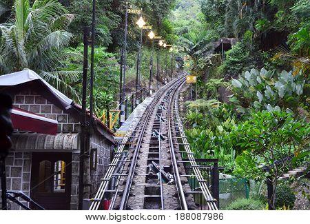 Penang hill railway train for transportation of passenger Malaysia
