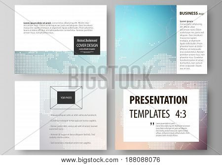 The minimalistic abstract vector illustration of the editable layout of the presentation slides design business templates. Molecule structure. Science, technology concept. Polygonal design