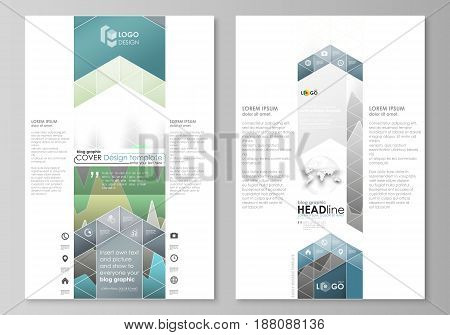 The abstract minimalistic vector illustration of the editable layout of two modern blog graphic pages mockup design templates. Rows of colored diagram with peaks of different height