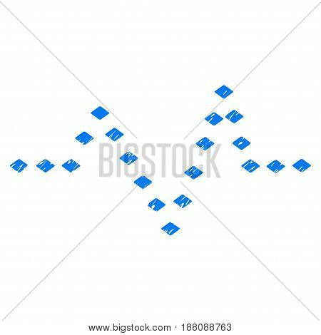 Grunge Dotted Pulse icon with grunge design and dirty texture. Unclean vector blue pictogram for rubber seal stamp imitations and watermarks. Draft sticker symbol.
