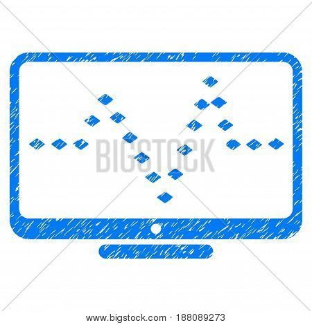 Grunge Monitor Dotted Pulse icon with grunge design and dirty texture. Unclean vector blue pictogram for rubber seal stamp imitations and watermarks. Draft emblem symbol.