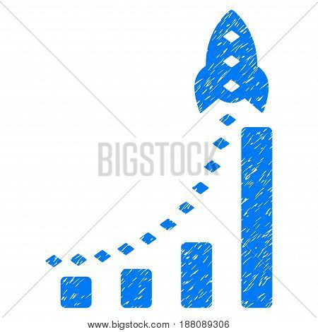Grunge Rocket Business Bar Chart icon with grunge design and dirty texture. Unclean vector blue pictogram for rubber seal stamp imitations and watermarks. Draft emblem symbol.