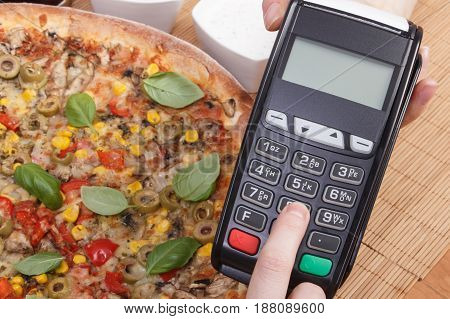 Using Payment Terminal For Paying In Restaurant, Enter Personal Identification Number
