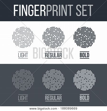 Biometric Fingerprint Icons Set Sci-Fi Future Identification Authorization System on Dark and White Background