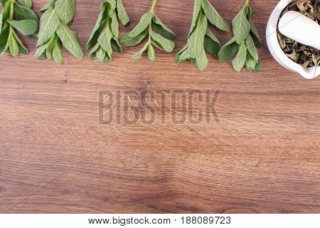 Natural Green And Dried Mint With Mortar, Concept Of Healthy Lifestyle, Copy Space For Text