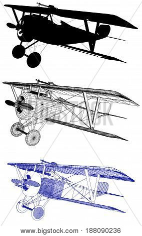 Antique Vintage Military Biplane Aircraft Illustration Vector
