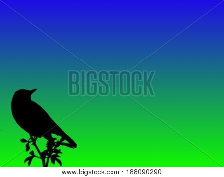 Nature concept. Bird silhouette. Bird clinging to a branch. Blue and green gradient background. Bird clinging to a top part of the tree. Awareness about nature