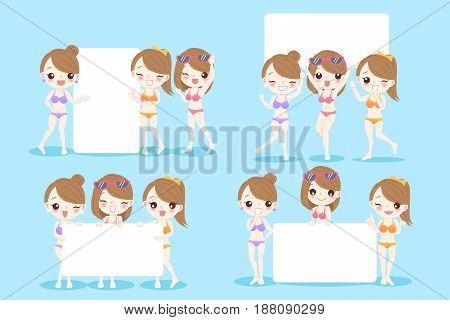 beauty cartoon women take billboard on blue background