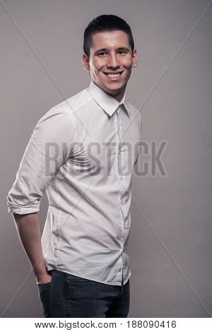 One Young Man, Portrait, Happy Smiling, Upper Body, White Shirt,