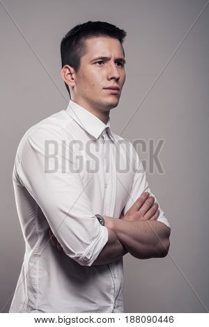 One Young Man, Portrait, Side View, Upper Body, White Shirt,