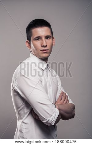 One Young Man, Portrait, Upper Body, White Shirt, Side View