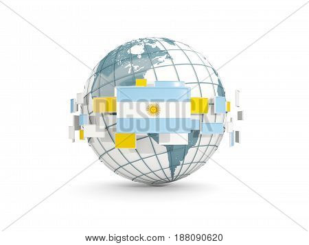 Globe With Flag Of Argentina Isolated On White