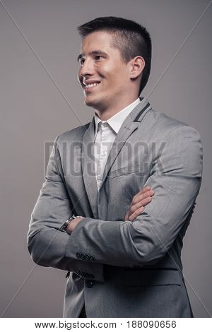 One Young Man, Upper Body, Formal Clothes, Happy Smiling Sideways