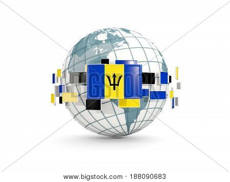Globe With Flag Of Barbados Isolated On White