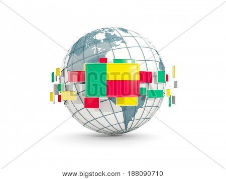 Globe With Flag Of Benin Isolated On White