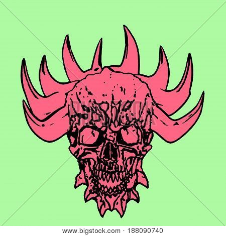 Red skull of a demon with crown of thorns. Vector illustration on green background.
