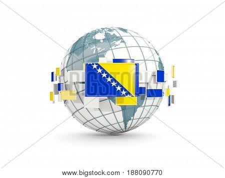 Globe With Flag Of Bosnia And Herzegovina Isolated On White