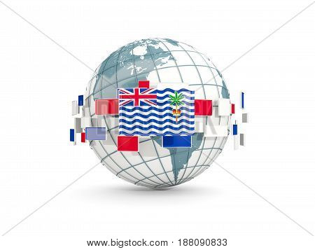 Globe With Flag Of British Indian Ocean Territory Isolated On White