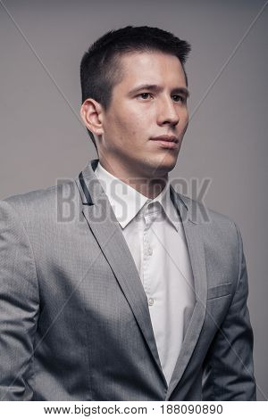One Young Man, Upper Body, Formal Clothes, Portrait Sideways