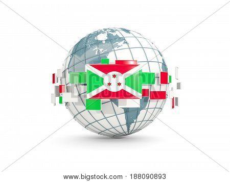Globe With Flag Of Burundi Isolated On White
