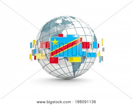 Globe With Flag Of Democratic Republic Of The Congo Isolated On White