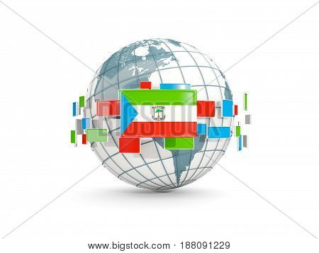 Globe With Flag Of Equatorial Guinea Isolated On White