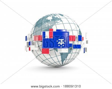 Globe With Flag Of French Southern Territories Isolated On White