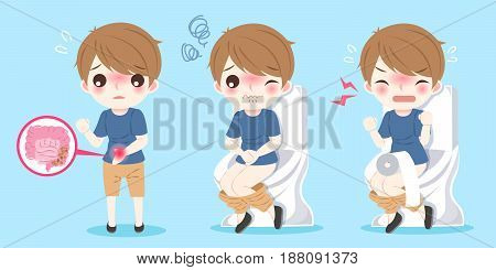 cute cartoon people and intestine with health concept