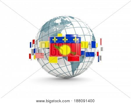 Globe With Flag Of Guadeloupe Isolated On White