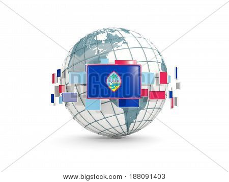 Globe With Flag Of Guam Isolated On White