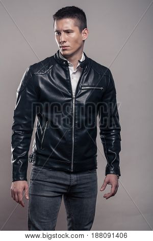 Young Man, Looking Tense, Badass, Leather Jacket,