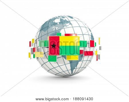 Globe With Flag Of Guinea Bissau Isolated On White
