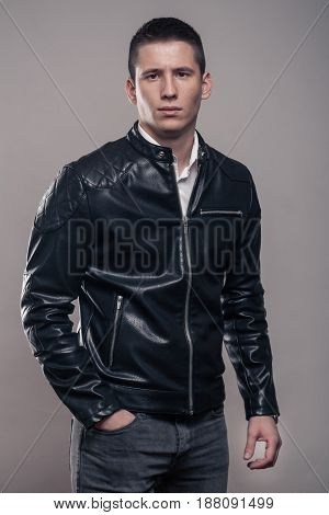 Young Man, Looking Tense, Leather Jacket,