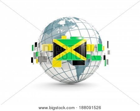 Globe With Flag Of Jamaica Isolated On White